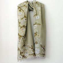Load image into Gallery viewer, Embroidered Sage Green Flower Scarf