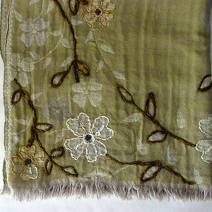 Embroidered Sage Green Flower Scarf