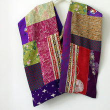 Load image into Gallery viewer, Vintage Kimono Scarf purple green