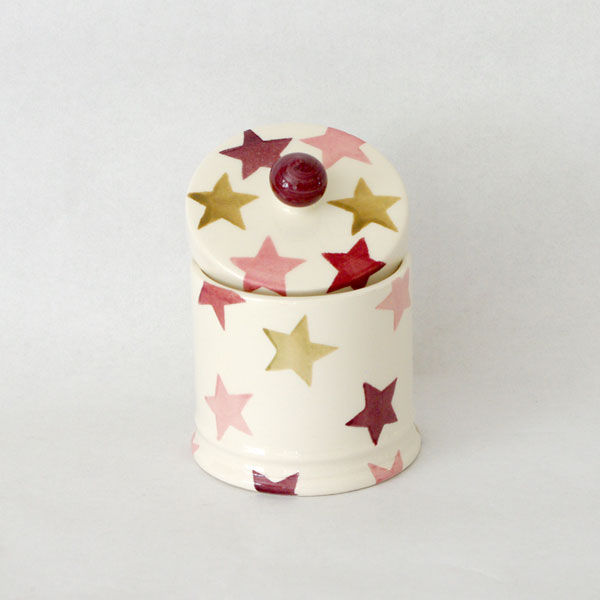Pink & Gold Star Lidded Candle Pot