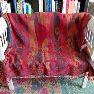 Atelier Lila Red Patterned Wool Throw