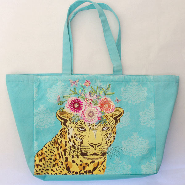 Aqua Leopard Shopper