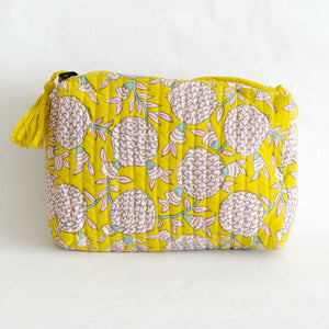 Sun Yellow Pomegranate Cosmetic Bag