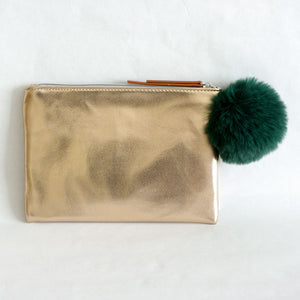 Rose Gold Clutch with Green Pompom