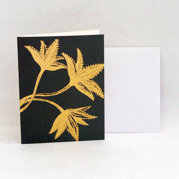 Gold Leaves Card dk green