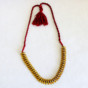 Indian Burgundy Thread Necklace silver gilt
