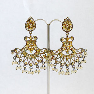 Indian Fan Earrings with crystals