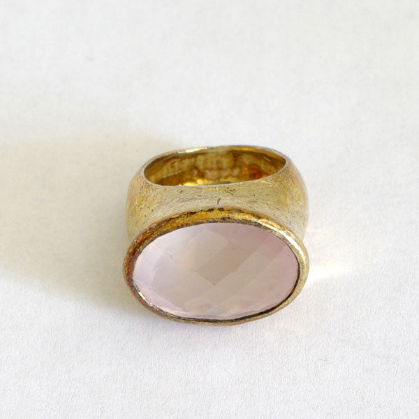 Rose Quartz Silver Gilt Ring