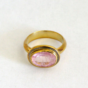 Ring Gold Plated Silver with Pink Tourmaline