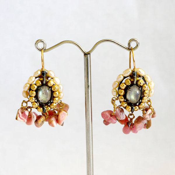 Drop Earrings with pearls, moonstone and pink agate