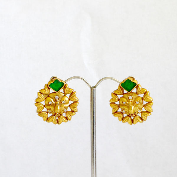 Gold Plated Indian Earrings with Green Onyx