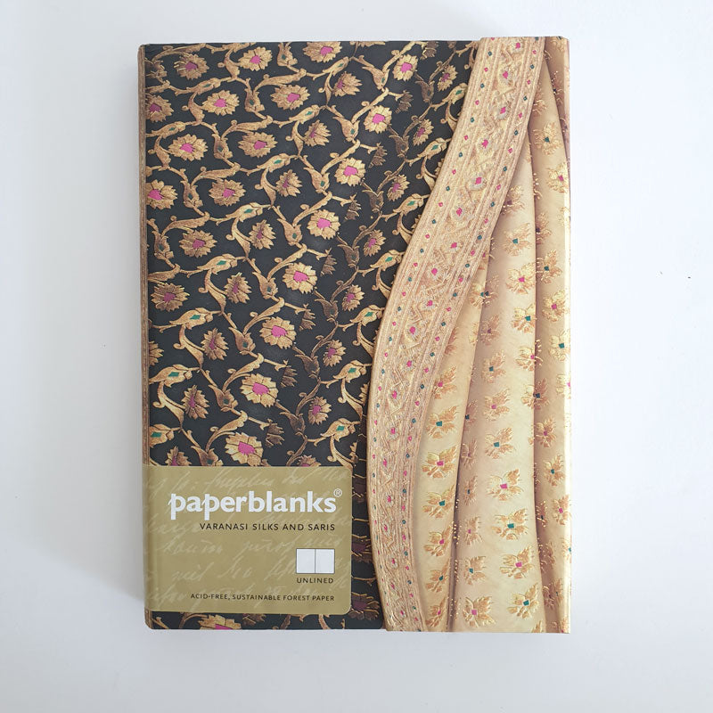 Medium Pink Flower  Unlined Notebook 'Silk & Sari'