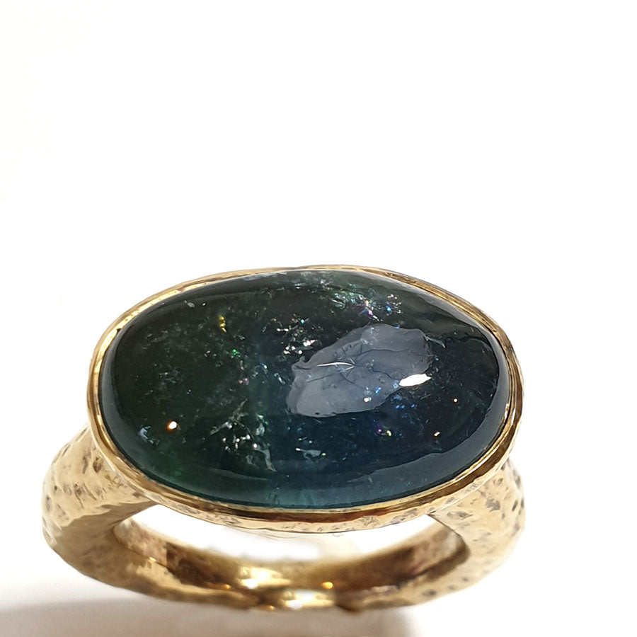 Large Silver Gilt Ring set with oval blue/green Fluorite