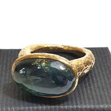 Load image into Gallery viewer, Large Silver Gilt Ring set with oval blue/green Fluorite