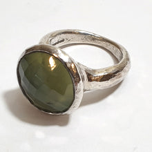 Load image into Gallery viewer, Large Silver Ring with Round Prehnite stone