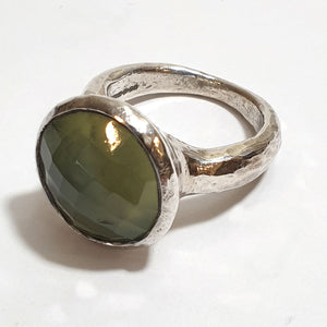 Large Silver Ring with Round Prehnite stone
