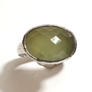 Large Silver Ring with Prehnite