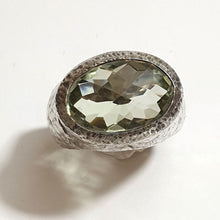 Load image into Gallery viewer, Large Silver Ring with Green Amethyst