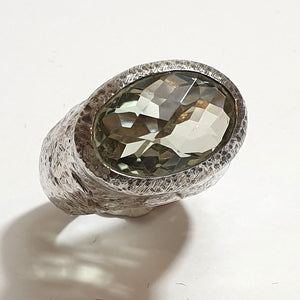 Large Silver Ring with Green Amethyst