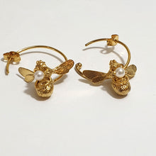 Load image into Gallery viewer, Alex Monroe Flying Bee with Pearl Hoop Earrings