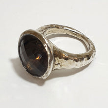 Load image into Gallery viewer, Large Silver Ring set with Smoky Quartz
