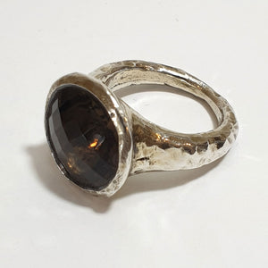 Large Silver Ring set with Smoky Quartz