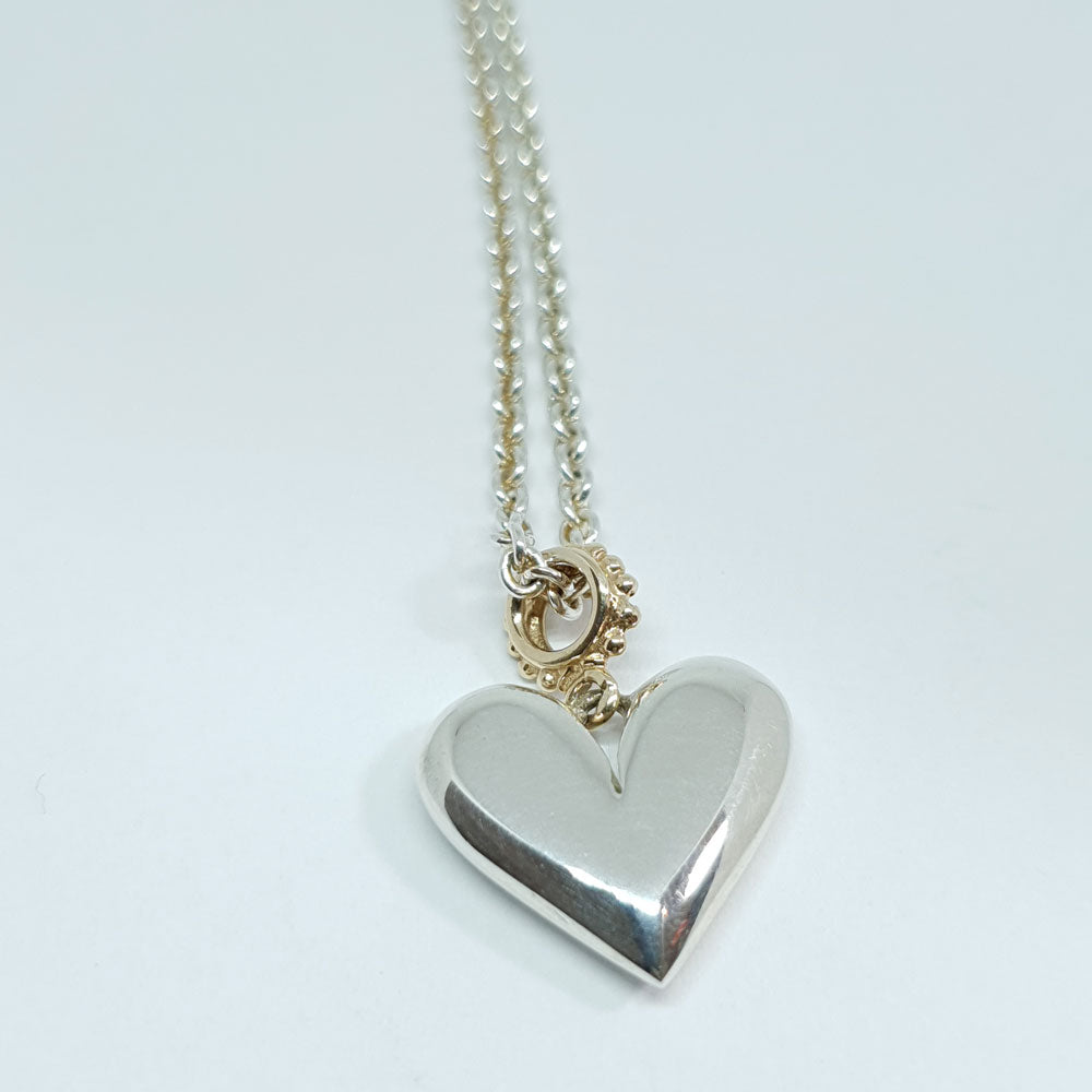 Linda McDonald Silver Heart Necklace with Gold Loop