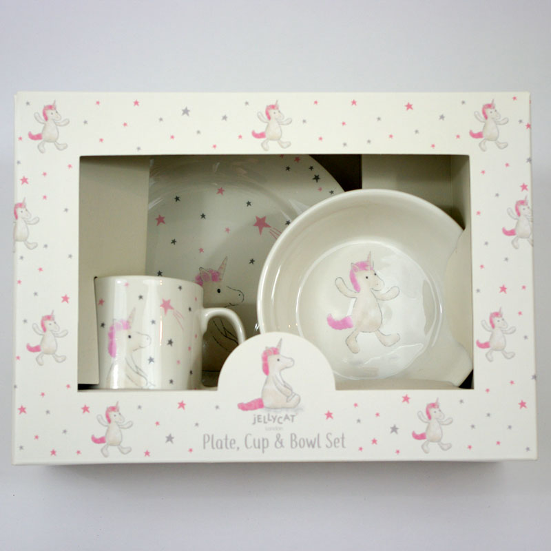 Jellycat Unicorn Plate Cup & Bowl Set