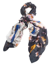 Load image into Gallery viewer, Blossom & Birds Scarf Charcoal