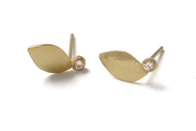 Shimara Carlow Gold Leaf Earrings with single Diamond