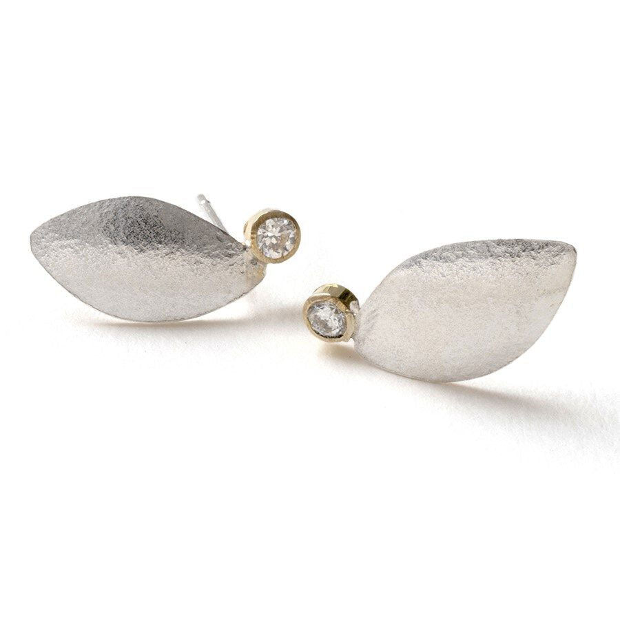 Shimara Carlow Silver Spring Leaf Studs with Diamonds