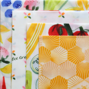 Beeswax Set of 4 Food Wraps - mixed