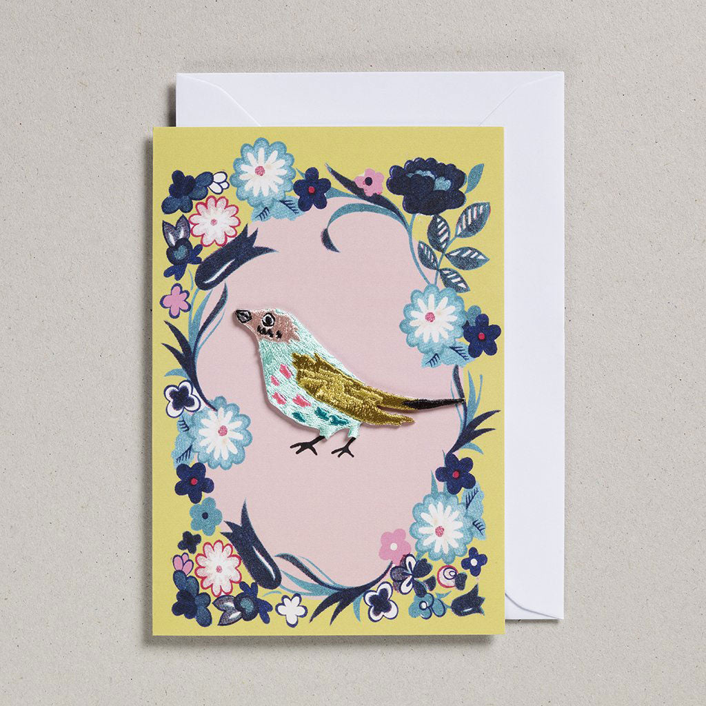 Card with Iron On Patch - Blue Bird