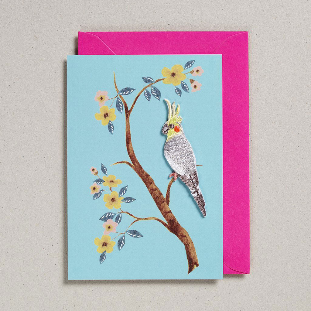 Card with Iron On Patch - Grey Parrot