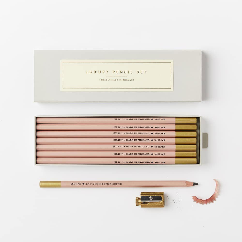 Pale Pink 6B Pencil Set