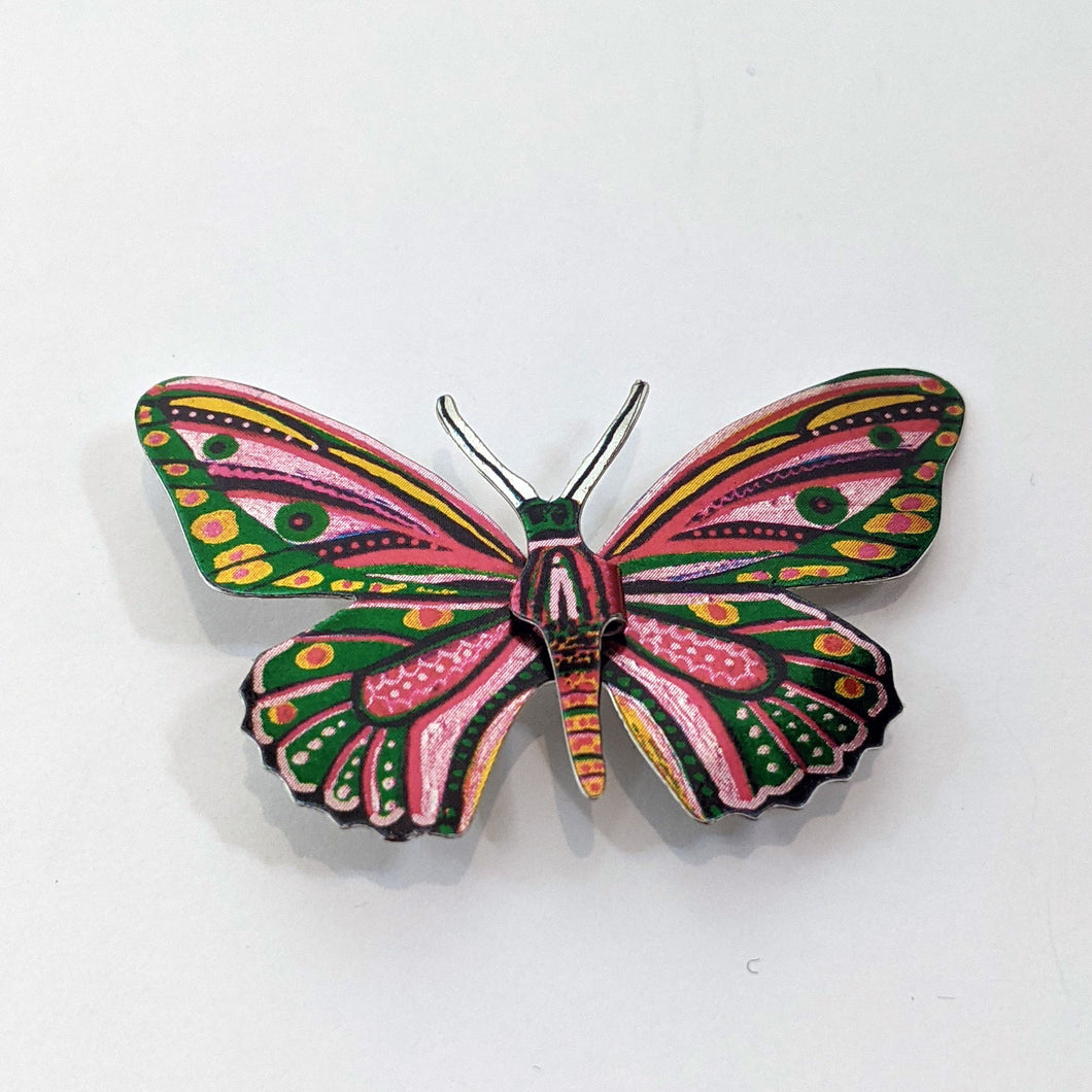 Multicolour Tin Butterfly Brooch