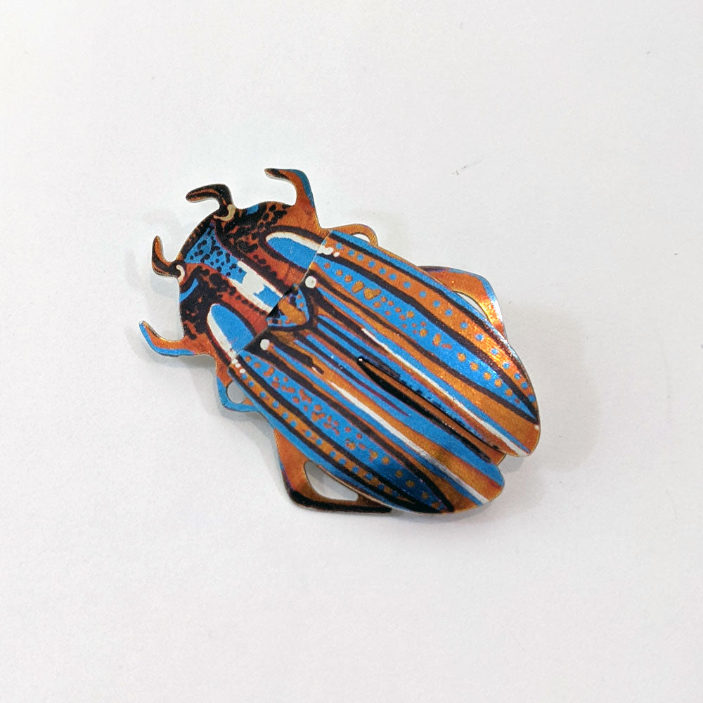 Blue & Orange Beetle Brooch
