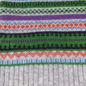Fair Isle Pure Wool Scarf - Green Staffa