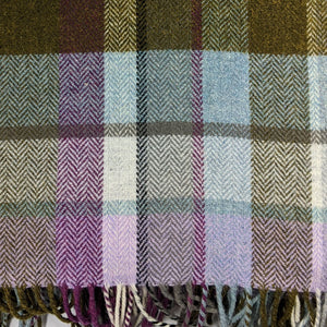 Lilac & Green Check Avoca Lambswool Rug