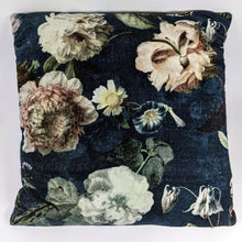 Load image into Gallery viewer, Prussian Blue Flora Velvet Cushion