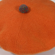 Load image into Gallery viewer, Orange Soft Woollen Beret with Pompom