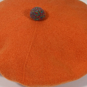 Orange Soft Woollen Beret with Pompom
