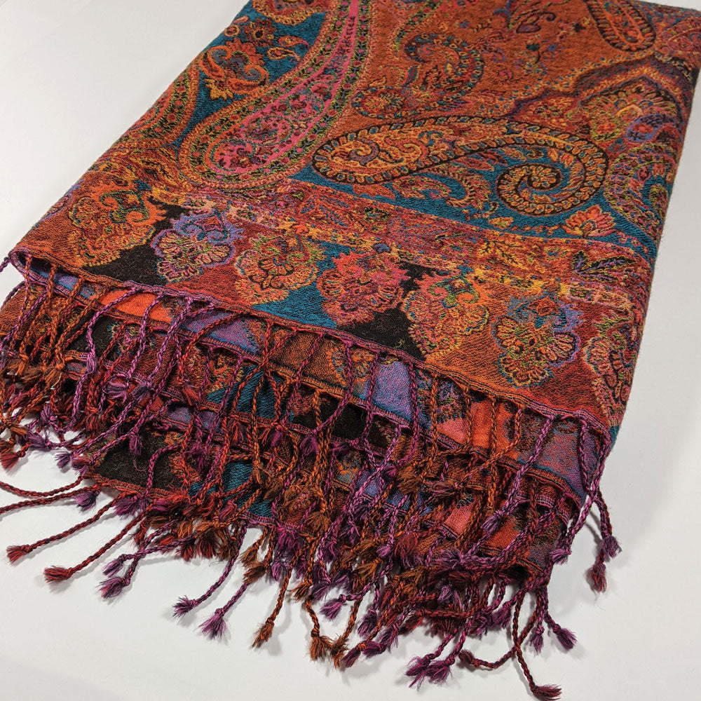 Atelier Lila Rust Turquoise Wool Throw