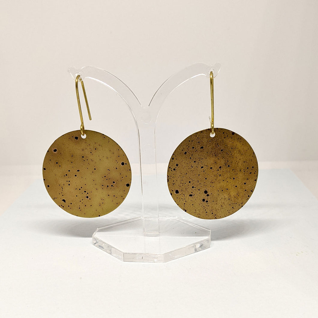 Patinated Brass Disc Earrings by Sibilia