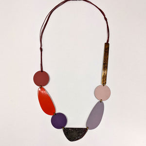 Orange & Lilac Patinated Brass Necklace by Sibilia