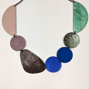 Lilac & Green Patinated Brass Necklace by Sibilia