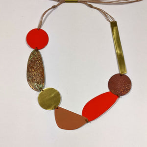 Orange & Rust Patinated Brass Necklace by Sibilia