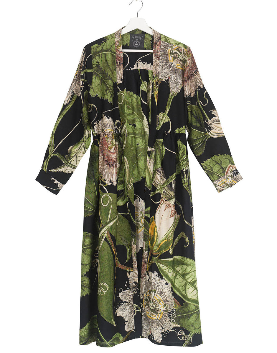 Dressing Gown Black Passionflower Duster Coat