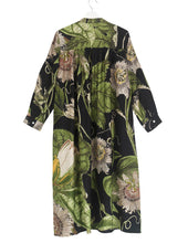 Load image into Gallery viewer, Dressing Gown Black Passionflower Duster Coat