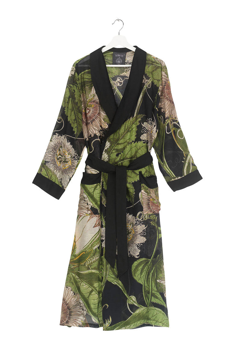 Dressing Gown Black Passionflower
